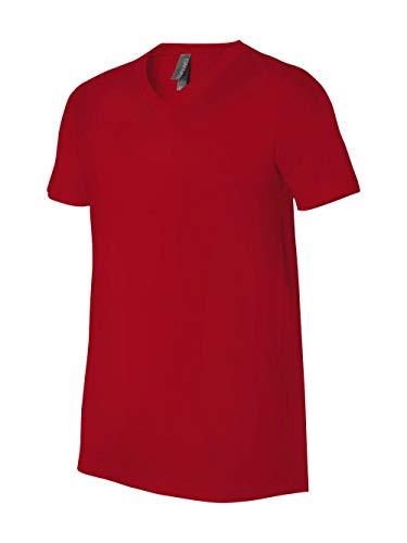 (Bella + Canvas Unisex Jersey Short-Sleeve V-Neck T-Shirt XL RED)