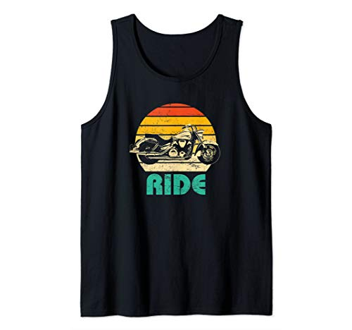 Ride Retro Distressed Motorcycle Graphic Tank Top ()