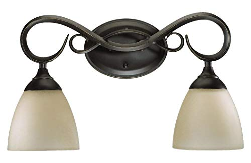 - Two Light Old World Amber Scavo Glass Vanity