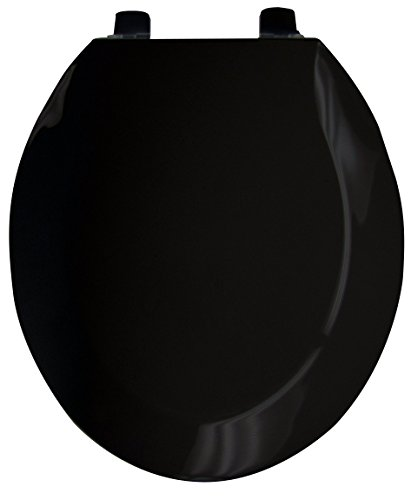 Black Standard Seat Cover - Ginsey Standard Plastic Toilet Seat with Plastic Hinges, Black