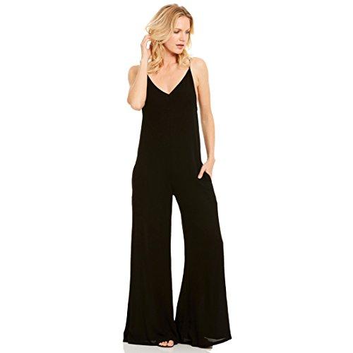 Hot Elan, Black Wide Leg Sleeveless Spaghetti Strap V Neck Jumpsuit Romper for sale