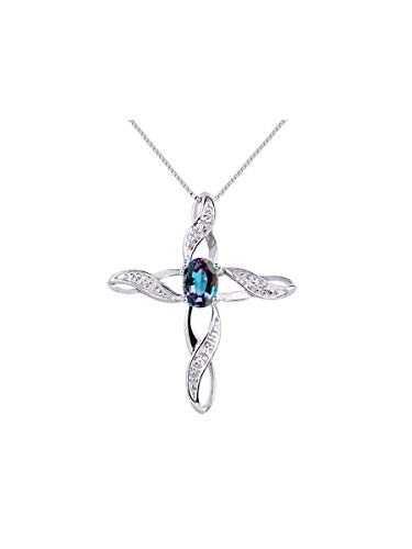 (Diamond & Simulated Alexandrite Cross Pendant Necklace Set In Sterling Silver .925 with 18
