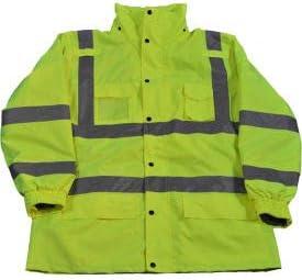 Petra Roc 3-In-1 Waterproof Parka Jacket LPJ3IN1-C3-4X ANSI Class 3 Lime 4XL 300D Oxford Shell//Fleece Lining