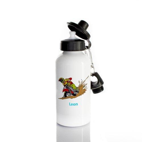 Striefchen® Trinkflasche für Jungen Motiv: Motorrad Name: Leon