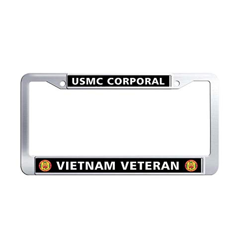 Toanovelty USMC Corporal Vietnam Veteran License Plate Frame, Waterproof Car tag Frame, Stainless Steel Car License Plate Holder 6' x 12' -
