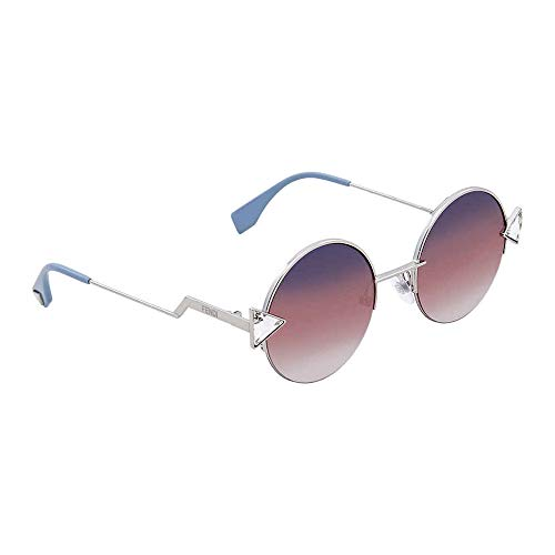 - Fendi 3YG Light Gold 0194S Round Sunglasses Lens Category 3 Lens Mirrored Size