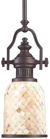 Elk 66432-1 Chadwick 1-Light Pendant, Oiled Bronze And Cappa Shell, 17-Inch H By 6-Inch W