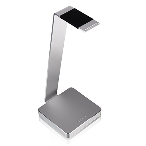 LUXA2 E-One Silver Solid-Metal Aluminum Universal Gaming Headphone Stand/Hanger/Holder for Beats, Senheiser, Sony, Bose, Philips, Audio-Technica, Plantronics, Shure, Jabra, JVC, JBL, AKG, DJ, Gaming Headsets Display (Jvc In Ear Headset)