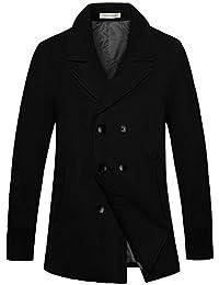 Men Winter Double Breasted Belted Pea Coat Outdoor Woolen Warm Jacket