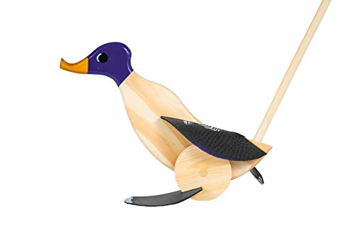 Wooden Push Pull Activity Walking Toy Duck (Purple) - Toddlers 18 Months to 6 Year Old Kids