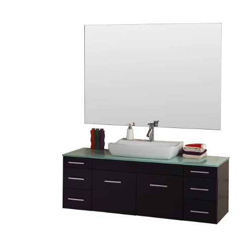 Virtu USA UM-3083-G-ES Biagio 56-Inch Wall-Mounted Single Sink Bathroom Vanity Set with Tempered Glass Countertop, Espresso Finish (Contemporary Bathroom Furniture)