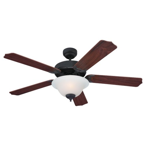 Sea Gull Lighting 15030BLE-07 Ceiling Fan with Frosted Glass Shades, Weathered Iron Finish