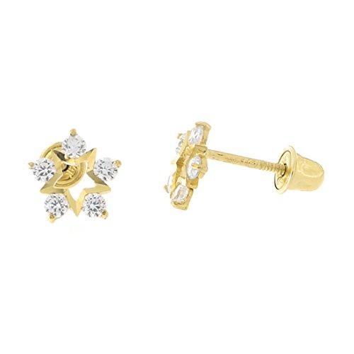 14k Yellow Gold Cubic Zirconia Diamond Cut Star Flower Safety Screwback Stud Earrings ()