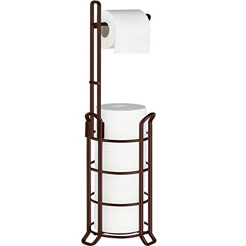 TomCare Toilet Paper Holder Toilet Paper Stand and Dispenser for 3 Spare Rolls Metal Wire Free-Standing Toilet Tissue…