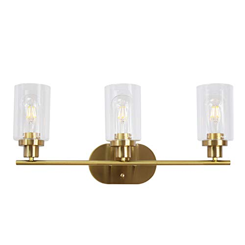 (VINLUZ 3 Light Interior Wall Sconce Brushed Brass Contemporary Elegant Bathroom Lighting Fixture Over Mirror with Clear Glass for Kitchen Bedroom Bathroom)