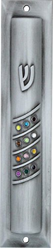 Art Judaica Pewter Mezuzah Case with Colorful Gemstones Hoshen 12 cm