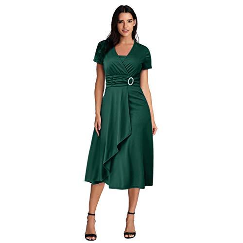 Orfilaly Women Plus Size Casual Dress, Summer Sexy Asymmetric Hem V-Neck Ruffled Party Evening Dress Beach Sundress Green