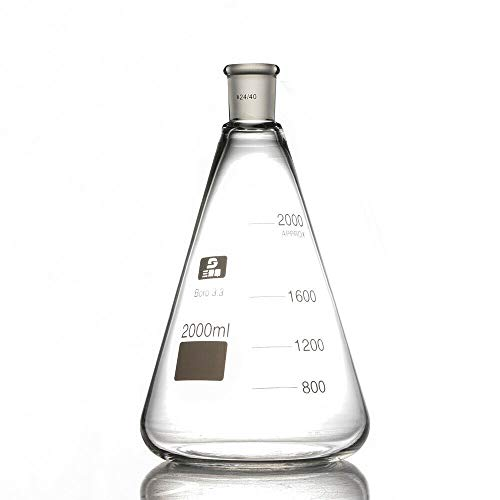 Flasks Laboratory Glassware - 2000ml Glass Erlenmeyer Flask, Conical Flasks, Laboratory Glassware Bottle Single Neck, 24/40