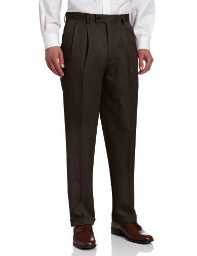 Louis Raphael Men's Ultimo Microfiber Pleated Dress Pant, Brown, 40x34 (Mens Brown Dress Slacks)
