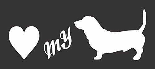 Barking Sand Designs Love My Bassett Hound Silhouette - Die Cut Vinyl Window Decal/Sticker for - Bassett Design