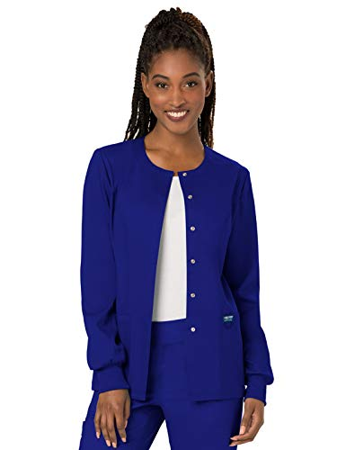 Warm Up Uniforms - Cherokee Women's Snap Front Warm-up Jacket, Galaxy Blue, X-Small
