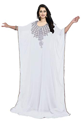 KoC Women's Kaftan Maxi Dress Farasha Caftan KFTN107-White for sale  Delivered anywhere in USA