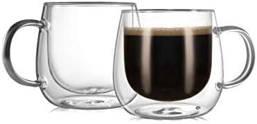 CnGlass Insulated Espresso Glass Mugs 5.4oz,Clear Coffee Mugs Set of 2 Double Wall Glass Mug with...