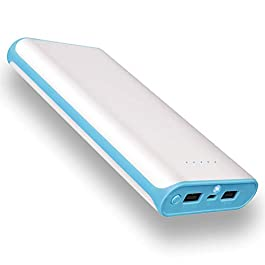 20000mAh Portable Power Bank 2 USB Ports Mobile Charger External Battery with Flashlight for iPhone 8X 8s 7 Plus 6s 6…