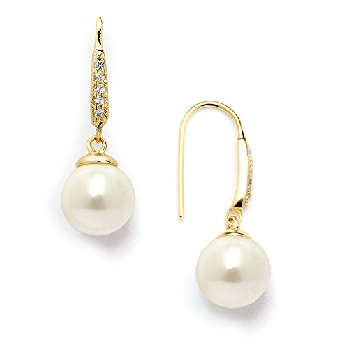 Mariell 14K Gold Plated Vintage French Wire Ivory Pearl Drop Earrings with Pave CZ - Bridal or Everyday - Faux Pearl Drop Necklace