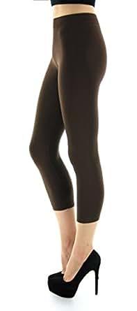 D&K Monarchy Women's Seamless Capri Thin Leggings, Brown, Medium/Large (8-14)