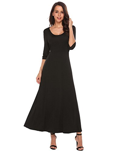 long black a line dress - 9