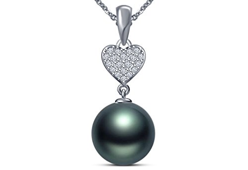 Issami 9 mm Tahitian Cultured Pearl Pendant AAA Quality 14K White Gold with 0.11 Carat Diamond Pendant for Women ()