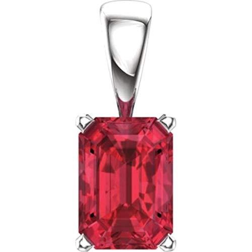 Bonyak Jewelry Lab-Created Ruby 14k White Gold Chatham Created Ruby Pendant