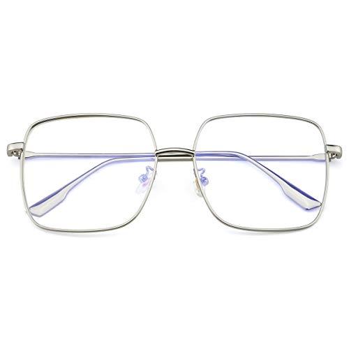Mimoeye Oversized Blue Light Filter Glasses Metal Square Non-Prescription Eyeglasses for Computer Gaming Anti Eye Strain Headache for Women and Men