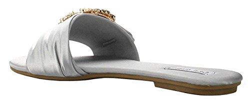 Cape Robbin Sadie-3 Satin Strass Broche Bout Ouvert Glisser Glisser Sur Flip Flop Sandale Plate Noir Gris