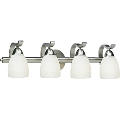 "Forte Lighting 5045-04 4 Light 26"" Wide Bathroom Fixture from the Bath Collectio, Brushed Nickel - Forte Lighting - bathroom-lights, bathroom-fixtures-hardware, bathroom - 31yLwQLdpkL. SS400  -"