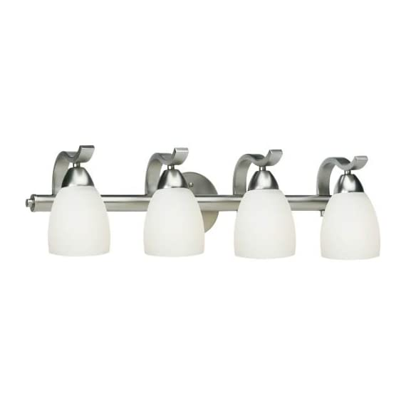 "Forte Lighting 5045-04 4 Light 26"" Wide Bathroom Fixture from the Bath Collectio, Brushed Nickel - Forte Lighting 5045-04-55 4LT Bath bracket Shade/Glass/Material: Satin Opal Glass Number of Lights/Wattage/Bulb: 4-100 watt Medium - bathroom-lights, bathroom-fixtures-hardware, bathroom - 31yLwQLdpkL. SS570  -"
