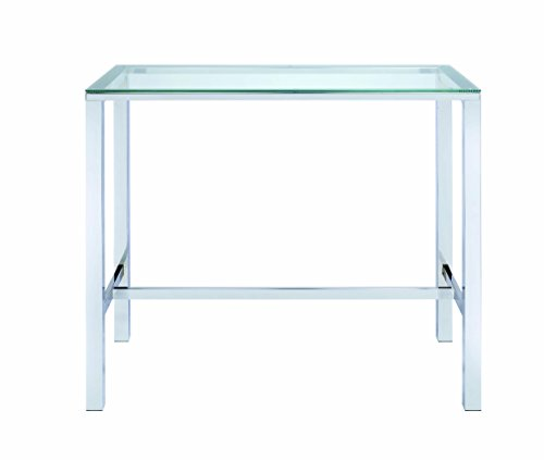 Bar Table with Glass Top Chrome and Clear (Height Glass Bar)