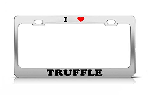 (I HEART TRUFFLE Food Fruit Vegetable Metal Auto License Plate Frame Tag Holder)