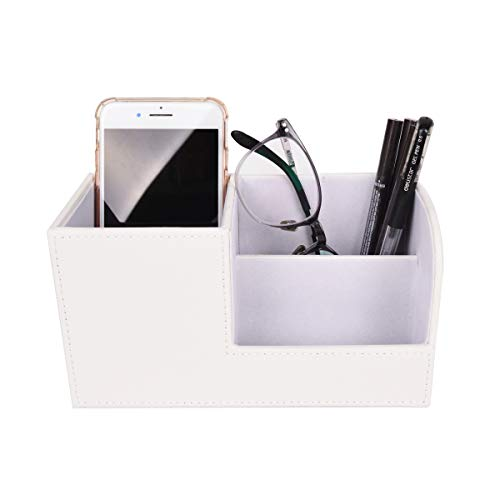 TECKE Home Office PU Leather Desk Organizer Multifunctional 3 Compartment Desktop Storage Box for Business Card, Pen, Pencil, Mobile Phone, Remote Control(White)