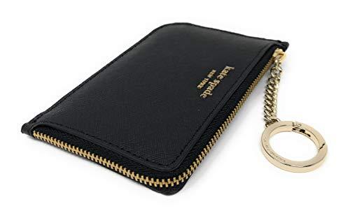 Kate Spade New York Medium L-Zip Card Holder Keychain Black (Card Purse Holder Coin)
