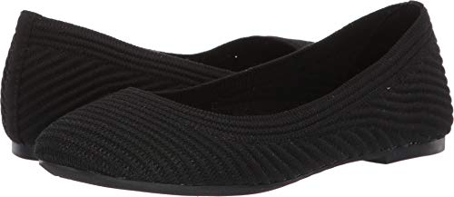 Skechers Women's Casey-Engineered Textured Knit Skimmer Ballet Flat, Black, 9 M US (Black Flats With Memory Foam)