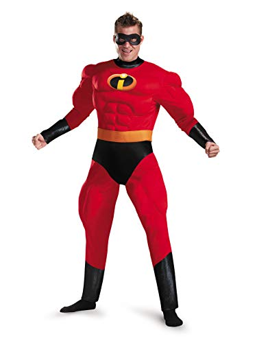 Disguise Men's Plus Size Mr. Incredible Deluxe Muscle Adult Costume, red, XXL (50-52) -