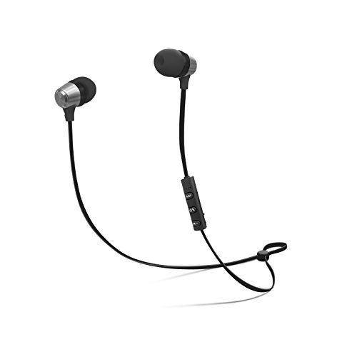 CYLO Platinum Series Metallic Bluetooth Version 4.1 Wireless In-Ear Earbuds with Remote and In-Line Microphone Stylish Design with Aluminum Casing and Hi-Def Audio (Black/ Silver) (Retractable Platinum Series)
