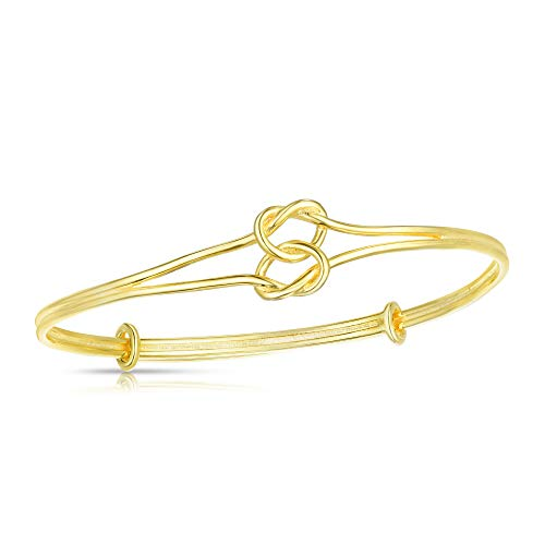 Unique Royal Jewelry All Solid 925 Sterling Silver Nautical Sailor's Love Knot Bangle Adjustable Length Bracelet (14K Yellow Gold Plated)