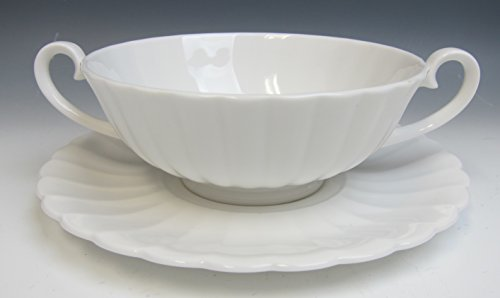 Susie Cooper WHITE FLUTE Cream Soup Bowl/Saucer EXCELLENT