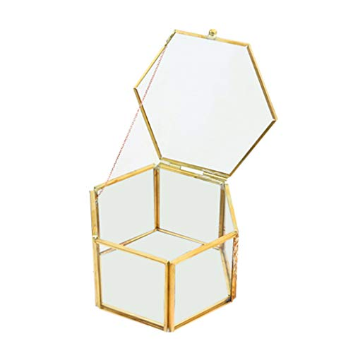 Necklace Transparent Copper - AutumnFall New Nordic Hexagonal Geometric Transparent Glass Flower Room Copper Edge Open Jewelry Storage Box Eternal Flower Gift Box (Gold)