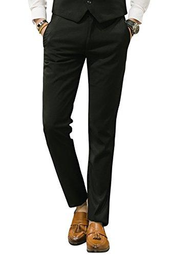 MOGU Mens Slim Fit Front Flat Casual Pants US Size 38 Black ()