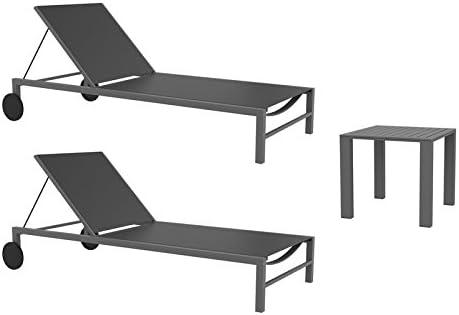 resol set de 2 tumbonas jardín exterior Cubic y 1 mesa auxiliar ...