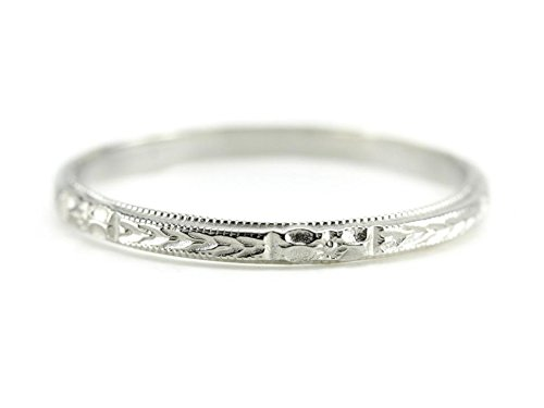 Elizabeth Henry Posies and Etched Wheat Pattern Thin Narrow Wedding or Stacking Band (platinum, 6.5) from Elizabeth Henry